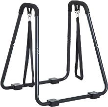 HOMCOM® dipstation dipstandaard dipper stangen standaard buiktrainer rugtrainer, staal, zwart, 100x65x135 cm