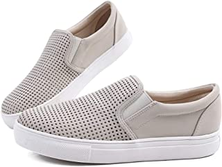 Farway Women' s Fashion Sneakers Perforated Slip on Flats Comfortable Casual Flat Walking Shoes