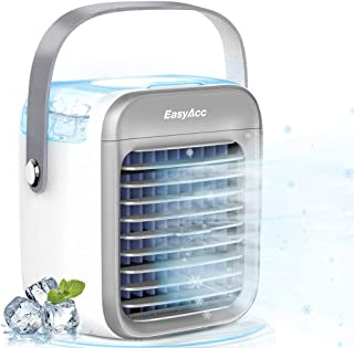 Ventilador de aire acondicionado, Ventilador portátil, Mini ventilador de refrigeración por aire evaporativo personal, Puede añadir agua y hielo, Pequeño ventilador de refrigeración de escritorio
