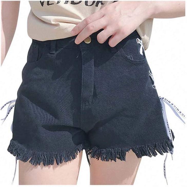 Women Summer Bandage Denim Shorts Tassel Wide-Leg High Waist Short Jeans Black Streetwear