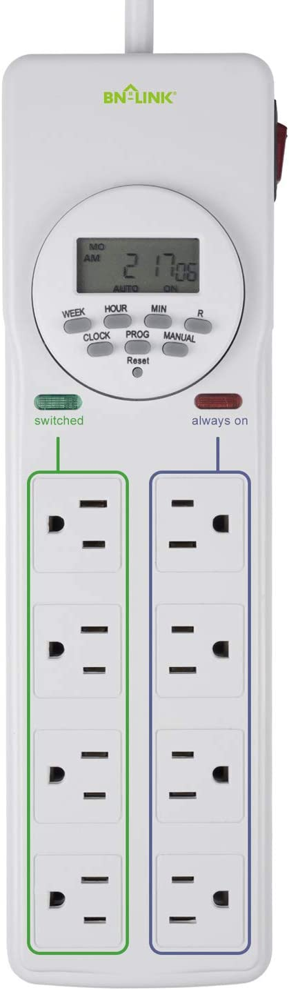 BN-LINK 8 Outlet Timer Surge Protector Power Strip