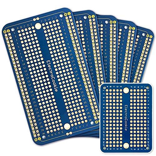 エレクトロクッキー ソルダブル ブレッドボード プリント基板 PCBボード Arduinoおよび電子工作用 金メッキ (5枚セット + ミニボード ブルー)