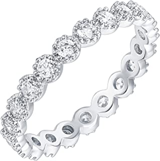 حلقه های نقره استرلینگ نقره اندود PAVOI 14K حلقه مکعب زیرکونیا | گروههای ابدی Marquise Milgrain | حلقه های طلا برای زنان