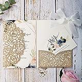 20 tarjetas de invitaciones de boda con lazos de color marfil y sobres de 5 x 20 cm para despedida de soltera, compromiso, cumpleaños, graduación, fiesta (purpurina dorada)