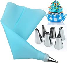 8PCS Silicone Kitchen Accessories Icing Pastry Bag 6 Stainless Steel Nozzle Sets Cake Tools,Pink Elise (Color : Blue, Size...