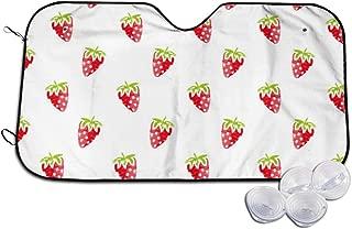 VIVIAN RICE Fruit Strawberry Foldable Car Windshield Sun Shade,for Most Sedans SUV Trucks Minivan Automotive,Keep Your Vehicle Cool