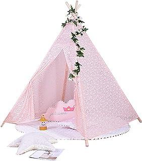 Vobajf Barn lektält spets tipi-tält för barn baby inomhus och utomhus leker perfekt storlek för barnrum fest lektält (fär...