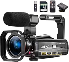 Video Camera 4K Camcorder ZOHULU Vlog Camera for YouTube, HD Digital Camera with 30X Digital Zoom and Night Vision, Video ...