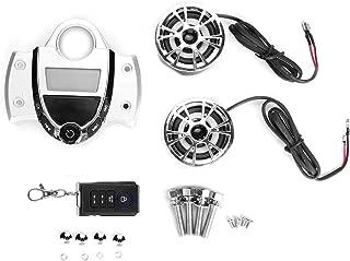 Suuonee Motorcycle Audio Speaker, 12V Universal Motorcycle Waterproof MP3 Audio FM Radio Alarm Stereo Speaker Remote Control Kit