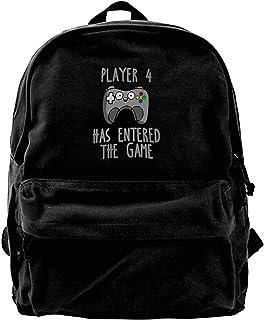 NJIASGFUI Mochila de lona para jugar 4 ha entrado en el juego, gimnasio, senderismo, portátil, bolsa de hombro para hombre...
