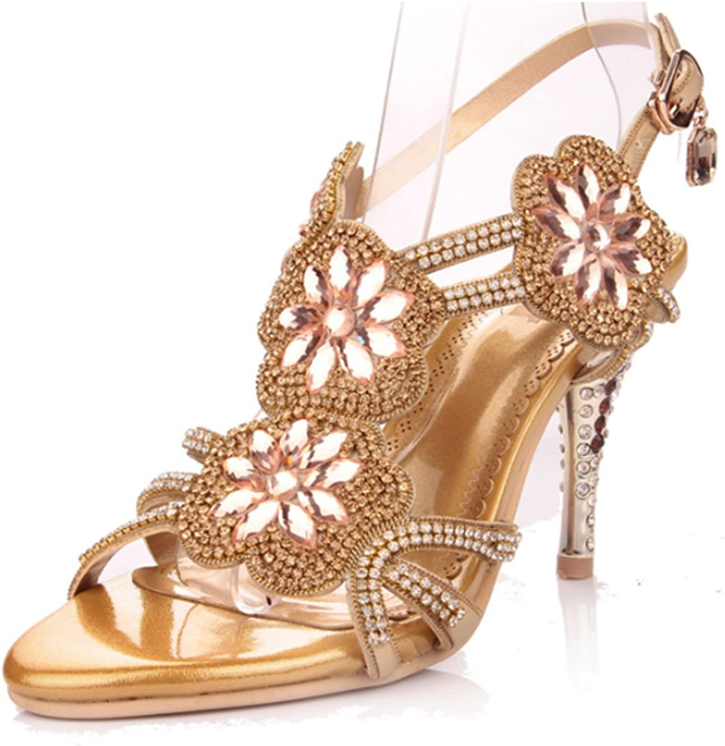 Monie Women's Sparkle Crystal Bridal Strappy shoes for Wedding High Heels