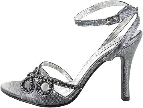Sandales à Hauts Talons pour Femme avec Bordure à Strass, Strass, idéal pour Les fêtes, Les Mariages et fêtes.  vente au rabais
