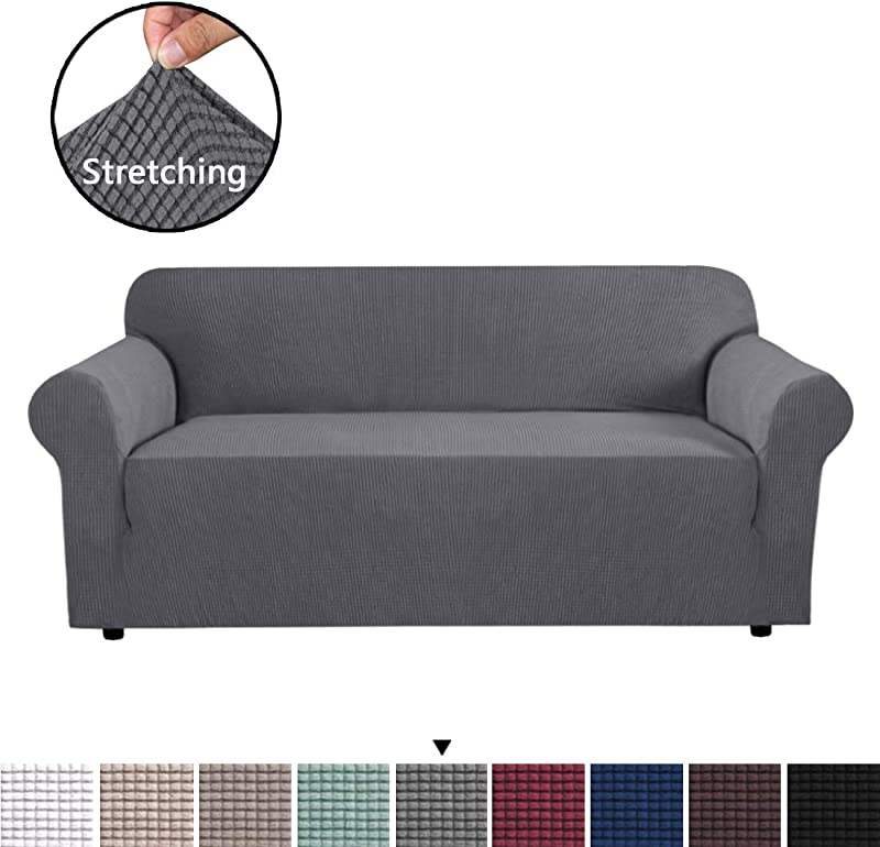 H VERSAILTEX High Stretch Sofa Cover 1 Piece Couch Covers Lounge Covers For 3 Cushion Couch Sofa Slipcover For Living Room Sofa Cover Stretch Lycra Jacquard Sofa Slipcover 3 Cushion Sofa Gray
