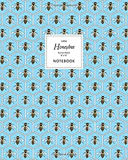Honeybee Notebook - Ruled Pages - 8x10 - Large: (Blue Edition) Fun notebook 192 ruled/lined pages (8x10 inches / 20.3x25.4...