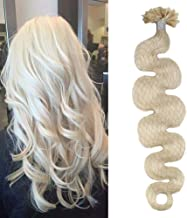Moresoo 24 Inch U tip Hair Extensions Human Hair Wavy #60 Platinum Blonde Keratin Hair Extension U Tip 1g/1s 50G 50 Strands Keratin Fusion Hair Extensions