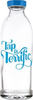 Tap Is Terrific Reusable Glass Water Bottle By Faucet Face,  14.4 oz