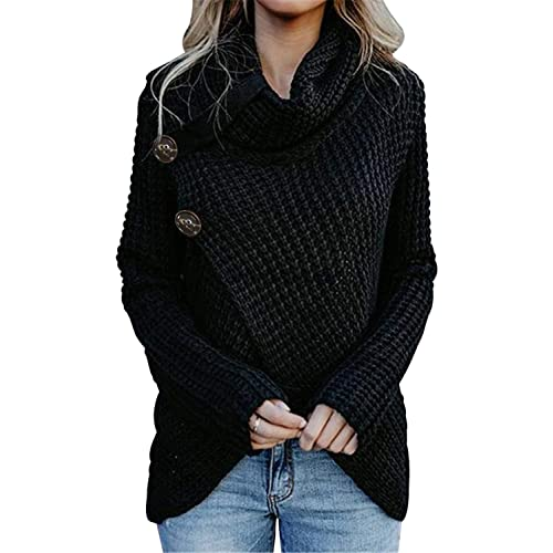 463ff819ab4 Asvivid Women s Chunky Turtle Cowl Neck Asymmetric Hem Wrap Sweater Coat  with Button Details