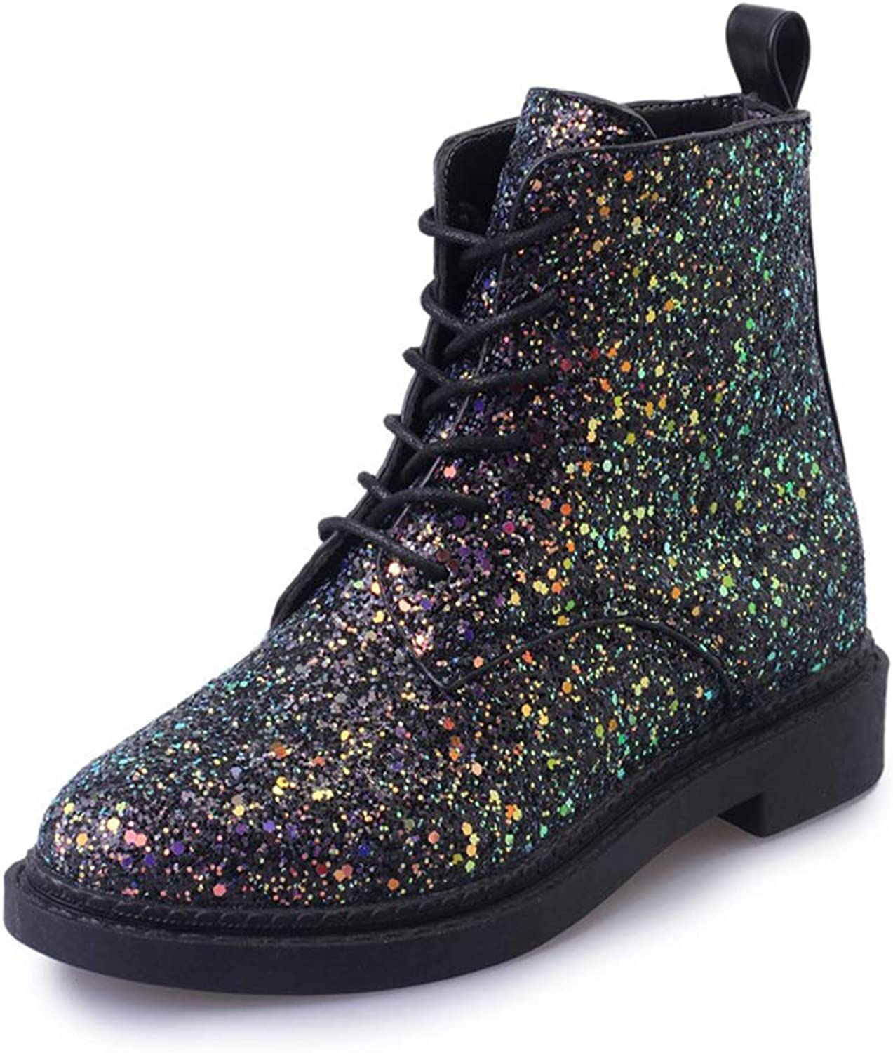 Women's Ankle Boots Bling Sequined Cloth Low Heel Short shoes Lace Up Party Fashion Casual Boot