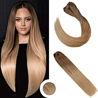 Ugeat Double Weft Human Hair Extensions Clip in 20inch Balayage Ombre Light Brown to Golden Blonde 120g 7PCS Clip in Human Hair Extensions Silky Straight Remy Hair