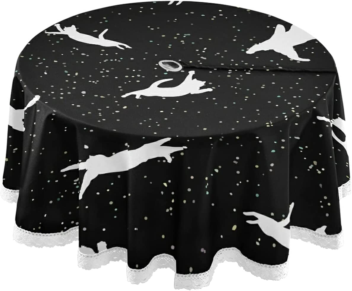 xigua Space Cat Round Table Cover Selling Resistant Heat wi Cloth Translated