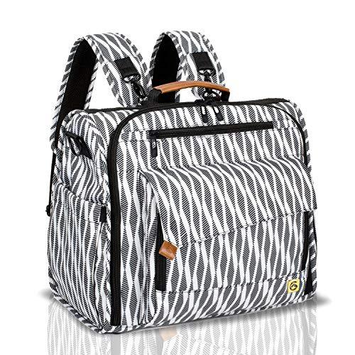 ALLCAMP Zebra Diaper Bag/Multi-Functional Convertible Diaper Backpack Messenger Bag,Large Capacity, Waterproof and Stylish