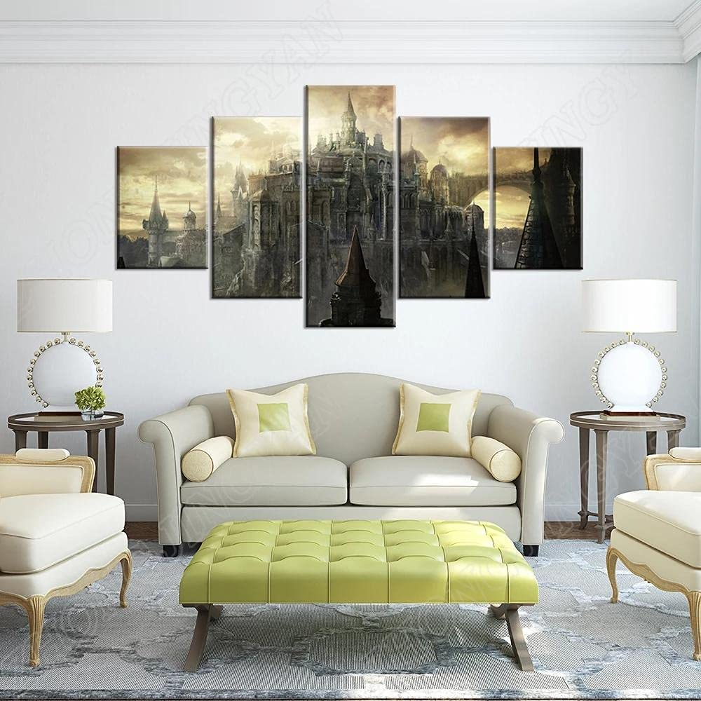 IKLOP 5 Piece Canvas Multi security Houston Mall Panel Wall Ar Pictures Prints HD Art