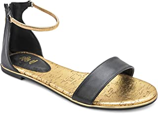 tresmode Women's Gatta Black Flat Gold Ankle Straps Zipper Sandals