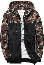NOBRAND - Chaqueta bomber para hombre con capucha, manga larga, diseño de camuflaje militar