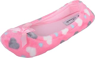 ABSOLUTE FOOTWEAR Womens Slip On Ballerina Style Slippers/Shoes/Pumps with Heart Design