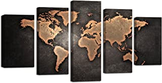 Ardemy Wall Art Canvas Prints Antiquated Vintage Abstract World Map Giclee Painting 5 Pieces/Set Stretched and Framed for Home Office Wall Decoration