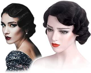 STfantasy Finger Wave Wigs 1920s Flapper for Women Costume (Jet Black)