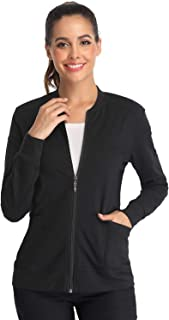 Women's Scrub Jacket Zip Front Warm-up Jacket