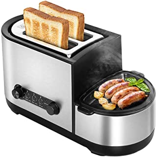 LUNAFJ Versatile Household Toaster Spit Driver Toaster Has 7 Baking Adjustable 2 Wide Stainless Steel Slot Bread Machine Function Of Thawing and Reheating