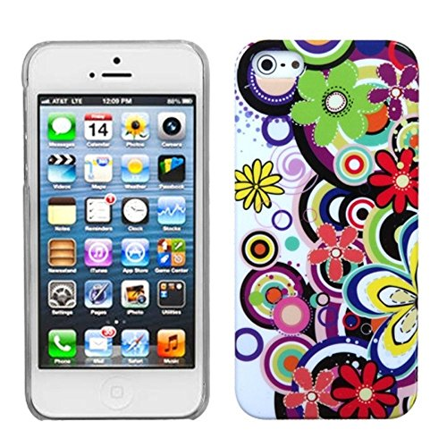 iPhone 5/5S/SE Case, Insten Flowers Hard Snap-in Case Cover for Apple iPhone 5/5S/SE, Colorful/Clear