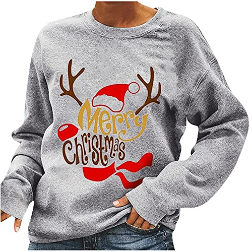 Ladies Vintage Sweatshirt Crewneck Xmas Elk Antlers Printed Pullover Long Sleeve Blouses Ugly Christmas Shirts Gray