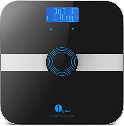 1byone Body Fat Scale Body Scale Bathroom Scale with Tempered Glass 180kg/400lb Weight Capacity 10 Users Auto Recognition Measures Weight Body Fat Water Muscle Calorie and Bmi Black
