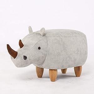 LifeX Nordic Home Rhinoceros Form Hocker Massivholz Ottomane Ändern Schuhe Bank Wohnzimmer Sofa Hocker Ottomane Kinder Spielzeug Sitz, Designer Deco Möbel (Color : White)