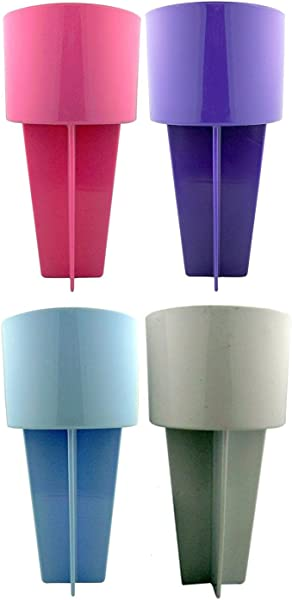 Pack Of 4 Pink Purple Light Blue And White Spiker Set Plastic Beach Sand Coaster