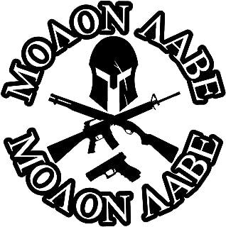 BAMFdecals Molon Labe Spartan Jolly Roger with Greek Text 3-Gun Die-Cut Vinyl Decal - Large - Black