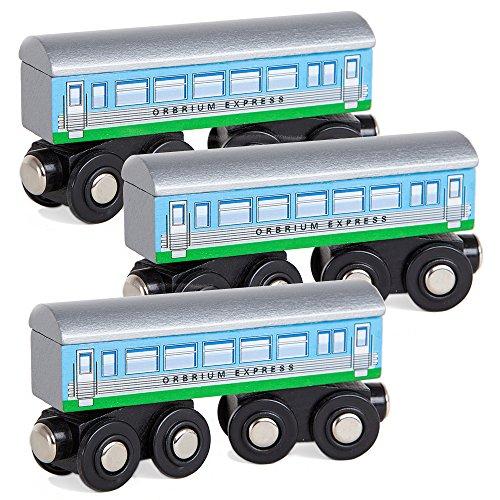 Orbrium Toys 3 Pcs Large Wooden Railway Express Coach Cars, Fits Thomas The Tank Engine, Brio, Chuggington Wooden Train