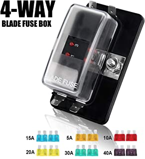 4-Way Blade Fuse Box - 12~32V 4-Circuit Fuse Block with Cover for Automotive Boat Marine(LED Indicator), 2 Years Warranty