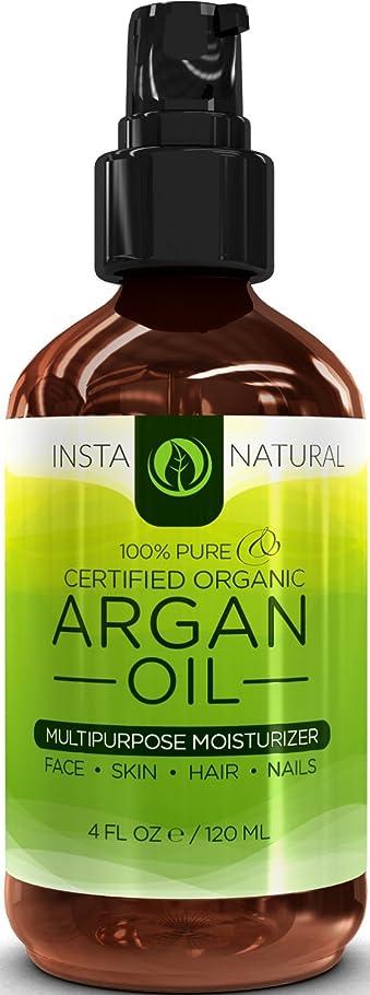 燃料ファッション悪名高いInstaNatural Organic Argan Oil For Hair, Face, Skin & Nails - 100% Pure & EcoCert Certified Organic Argan Oil Multipurpose Moisturizer, 4 Fluid Ounce 髪、顔、皮膚niアルガン油オイル  並行輸入品