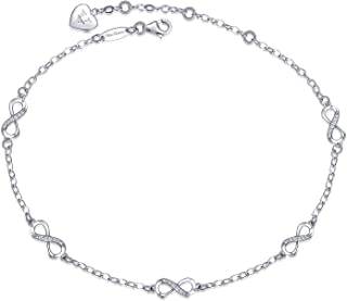 S925 Sterling Silver Infinity Anklet for Women Girl Adjustable Beach Style Foot Ankle Bracelet Love Jewelry