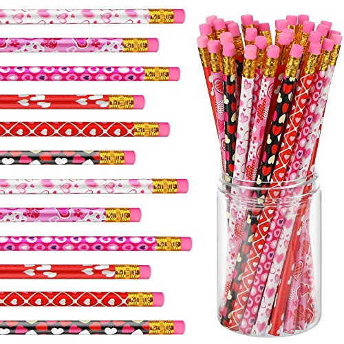 36 Pieces Valentine Pencil Set Pencil with Eraser Wood Pencil Heart Pencil Valentine's Day Pencil Red Heart Pencil Party Supplies for Student Valentine Birthday Party