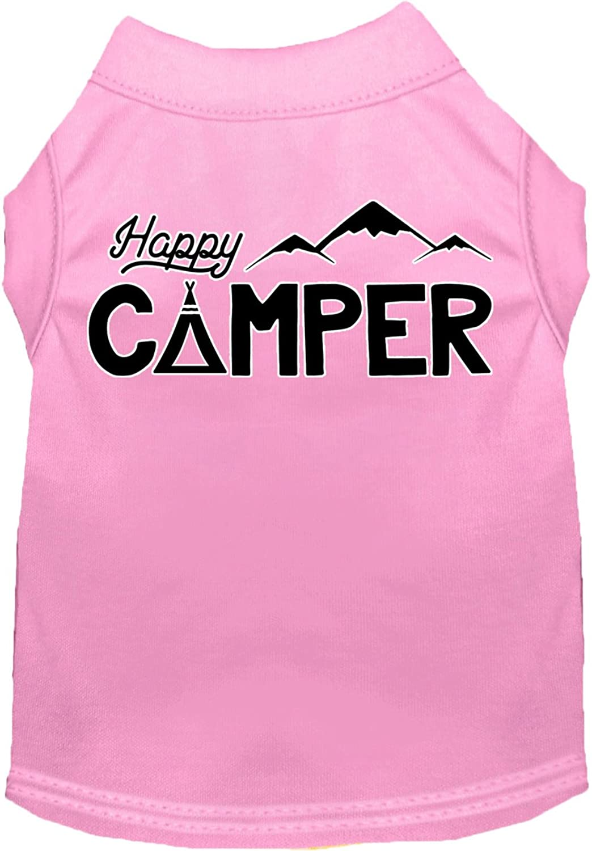 Happy Camper Screen Print Dog Shirt Light Pink Lg (14)