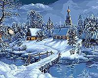 数字によるDIYペイント、大人用 子供用 数字によるペイントDIYペインティング アクリル絵画 数字の絵画 キット リ家庭の壁 リビングルーム 寝室 装飾 - 雪の中の小屋(2),40×50cm(フレームなし)