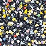 Sterne Gaffer Kuchen streuen geeignet für Veganer Gluten Molkerei frei gemischt Schwarz Gold blau grün lila weiße Perlen Kuchen backen (1000gr)
