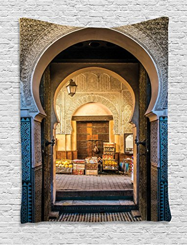 Ambesonne Moroccan Tapestry Decor by, Typical Moroccan Door to Old Medina Mediterranean Historical Arch Entrance Photo, Wall Hanging for Bedroom Living Room Dorm, 60 W x 80 L Inches, Blue Beige