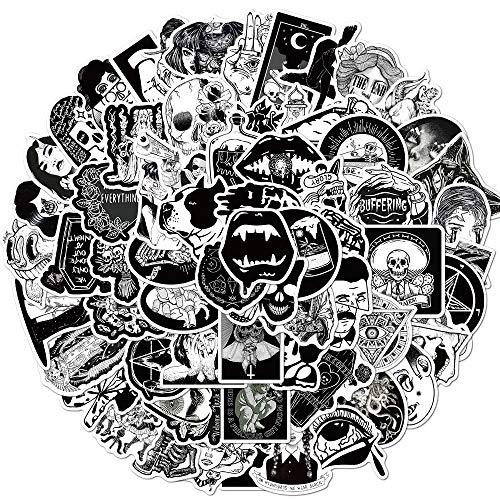 100 Pcs Black White Gothic Style Horror Graffiti Stickers for DIY Stationery Skateboard Laptop Guitar Helmet Anime Decal Sticker