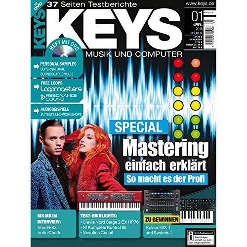Keys 1 2016 mit DVD - Mastering einfach erklärt - Supernatural Soundscapes auf DVD - Personal Samples - Free Loops - Audiobeispiele